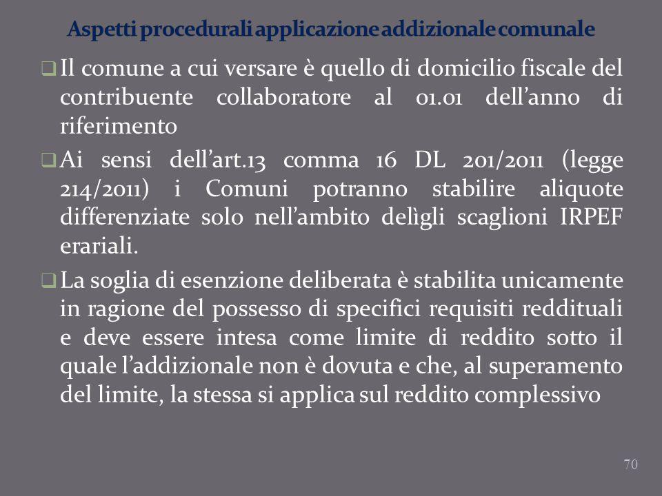 Aspetti procedurali applicazione addizionale comunale
