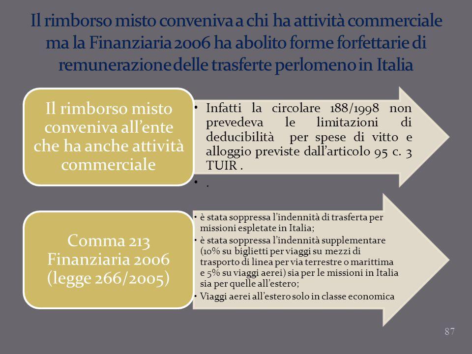 Il rimborso misto conveniva a chi ha attività commerciale ma la Finanziaria 2006 ha abolito forme forfettarie di remunerazione delle trasferte perlomeno in Italia