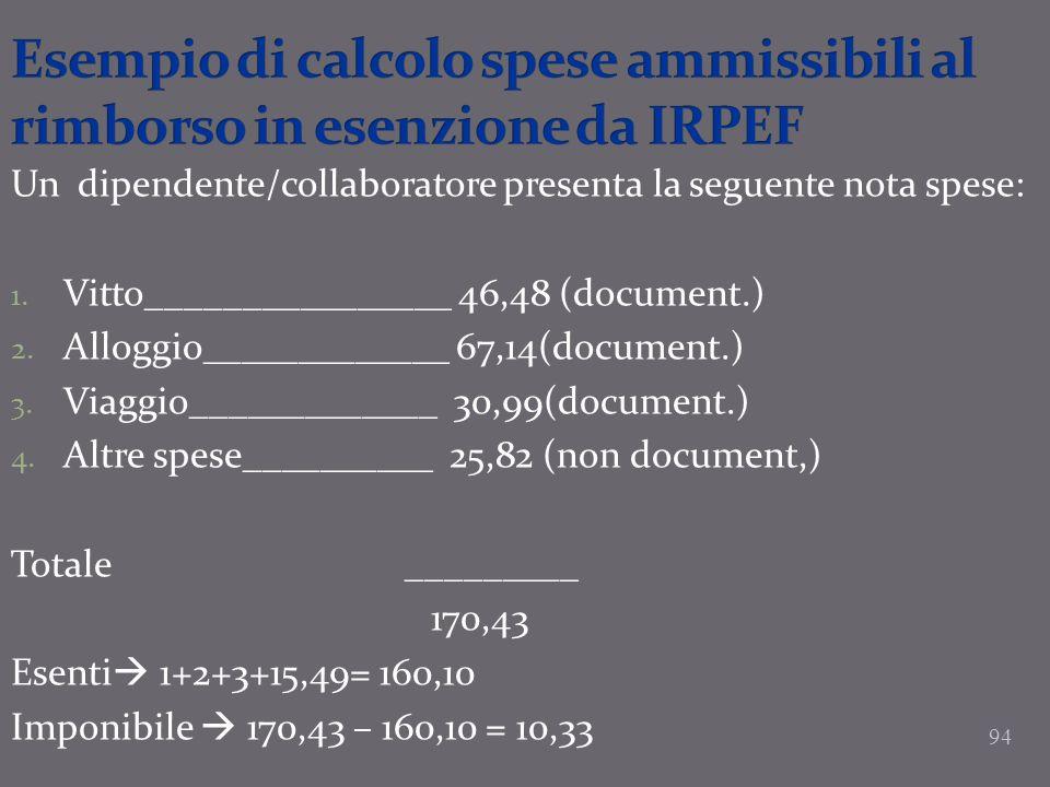 Esempio di calcolo spese ammissibili al rimborso in esenzione da IRPEF