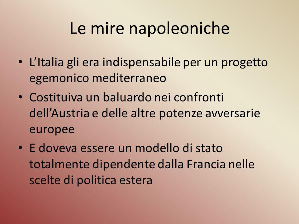 Le mire napoleoniche L'Italia gli era indispensabile per un progetto egemonico mediterraneo.