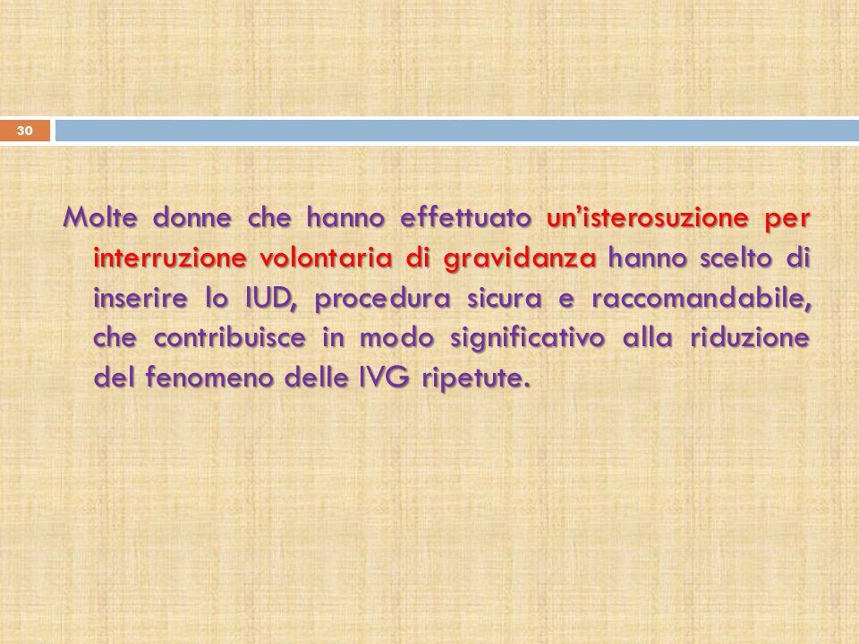 Molte donne che hanno effettuato un'isterosuzione per interruzione volontaria di gravidanza hanno scelto di inserire lo IUD, procedura sicura e raccomandabile, che contribuisce in modo significativo alla riduzione del fenomeno delle IVG ripetute.