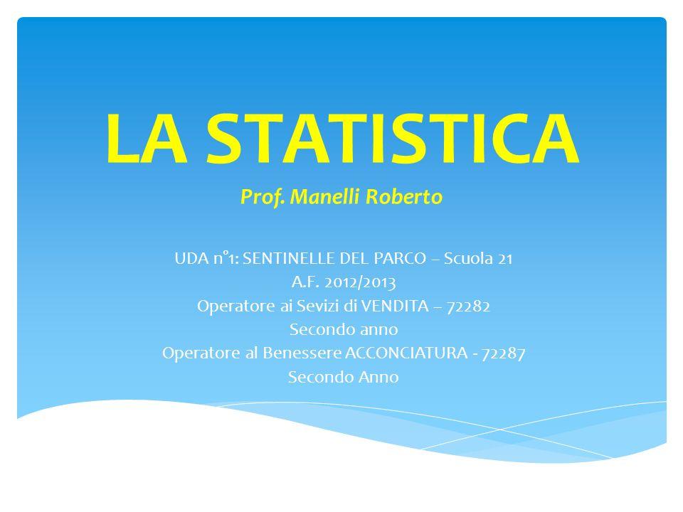 LA STATISTICA Prof. Manelli Roberto