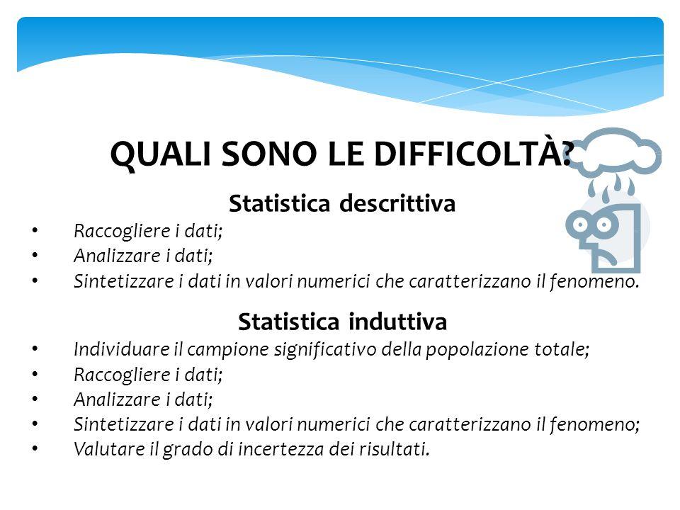 QUALI SONO LE DIFFICOLTÀ Statistica descrittiva