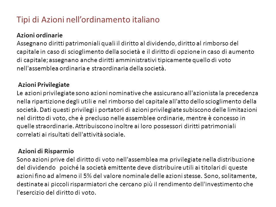 Tipi di Azioni nell'ordinamento italiano