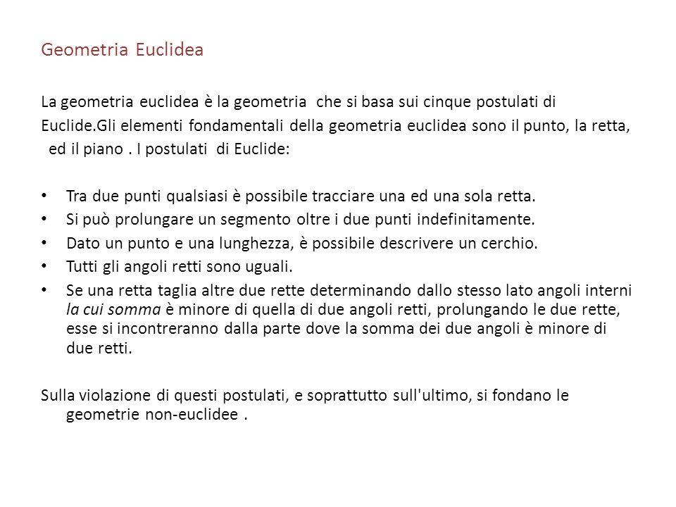 Geometria Euclidea La geometria euclidea è la geometria che si basa sui cinque postulati di.