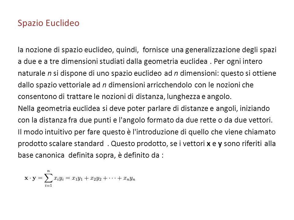 Spazio Euclideo la nozione di spazio euclideo, quindi, fornisce una generalizzazione degli spazi.