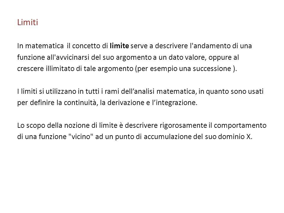 Limiti In matematica il concetto di limite serve a descrivere l andamento di una.