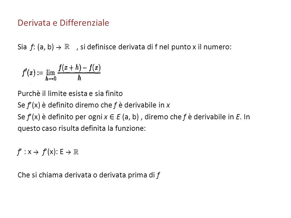 Derivata e Differenziale