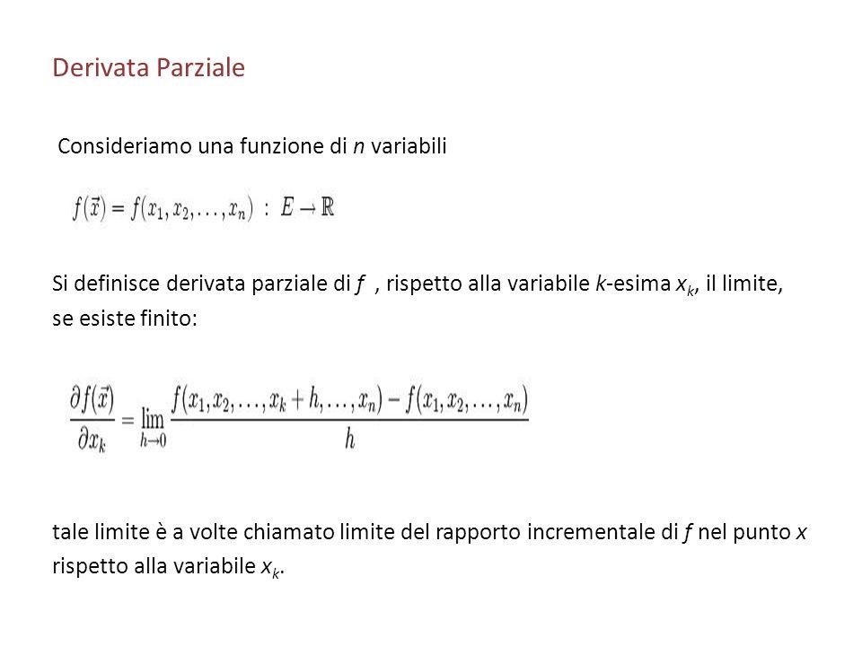 Derivata Parziale Consideriamo una funzione di n variabili