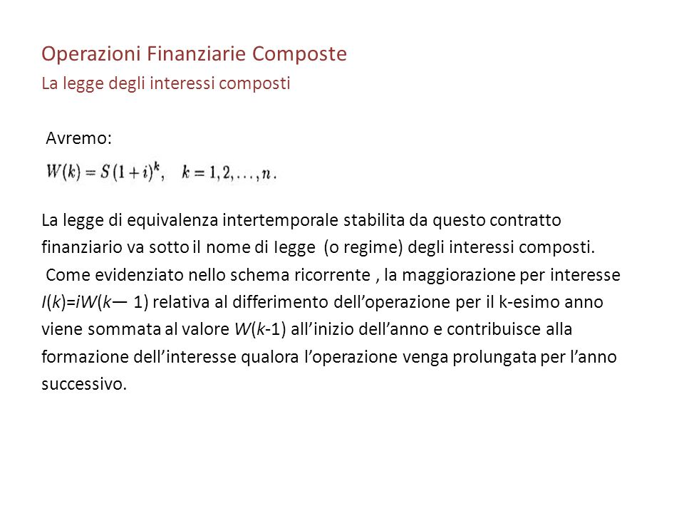 Operazioni Finanziarie Composte