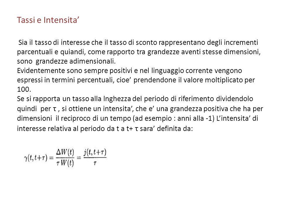 Tassi e Intensita' Sia il tasso di interesse che il tasso di sconto rappresentano degli incrementi.