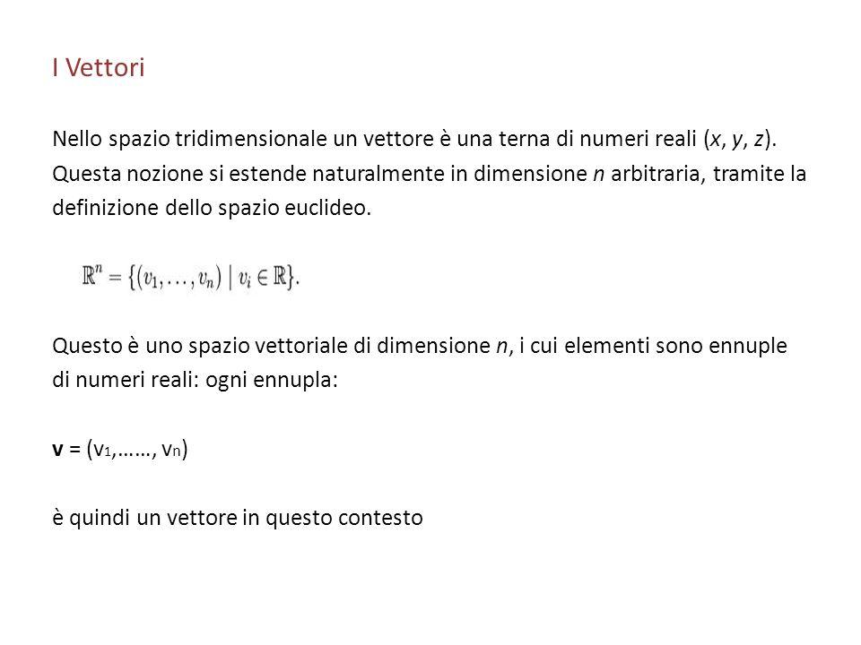 I Vettori Nello spazio tridimensionale un vettore è una terna di numeri reali (x, y, z).