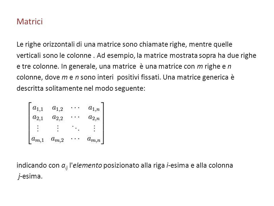 Matrici Le righe orizzontali di una matrice sono chiamate righe, mentre quelle.