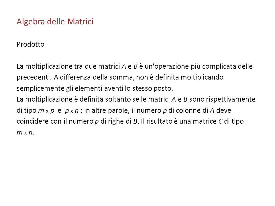 Algebra delle Matrici Prodotto