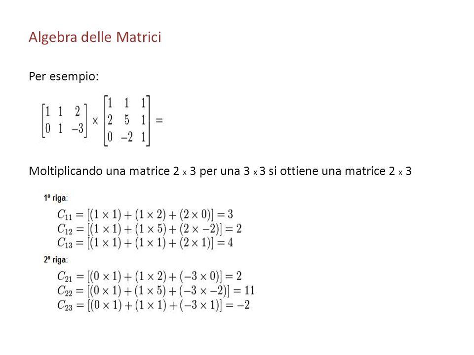 Algebra delle Matrici Per esempio: