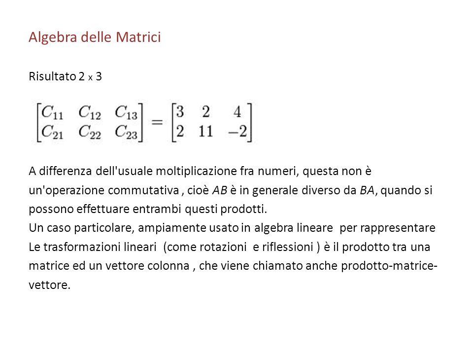 Algebra delle Matrici Risultato 2 x 3
