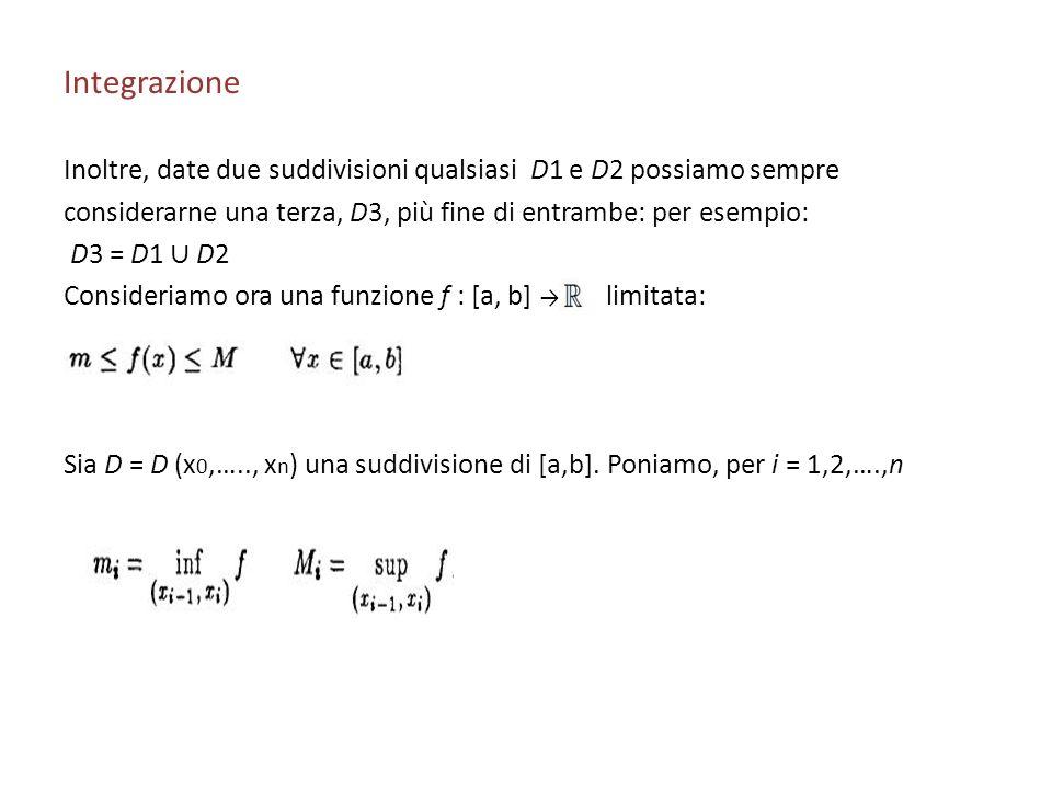 IntegrazioneInoltre, date due suddivisioni qualsiasi D1 e D2 possiamo sempre. considerarne una terza, D3, più fine di entrambe: per esempio: