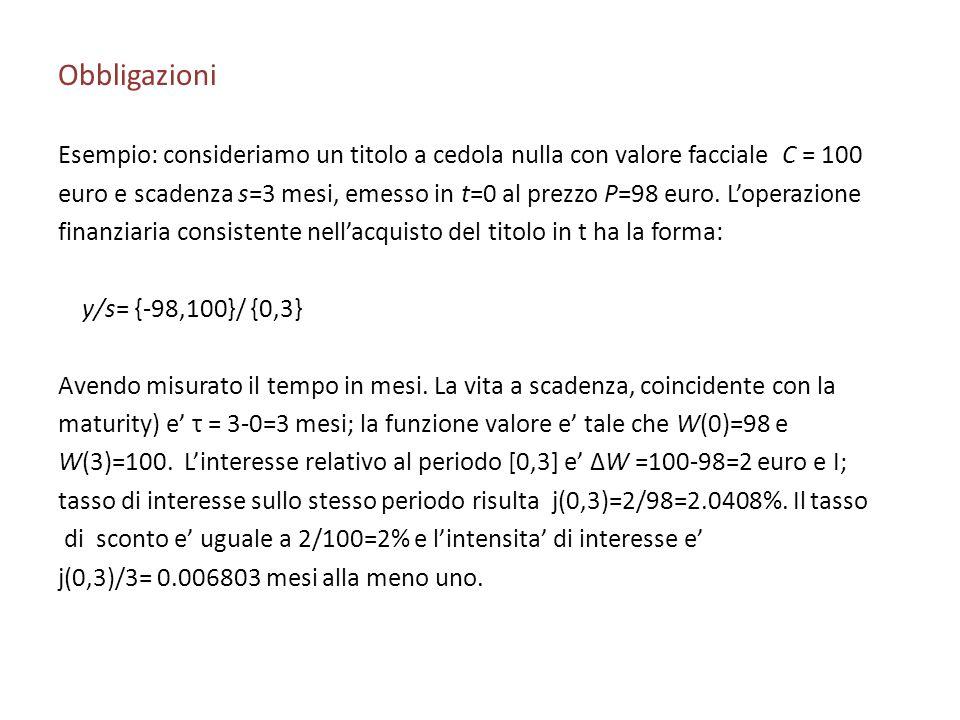 Obbligazioni Esempio: consideriamo un titolo a cedola nulla con valore facciale C = 100.