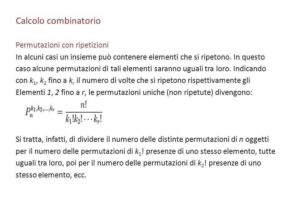 Calcolo combinatorio Permutazioni con ripetizioni
