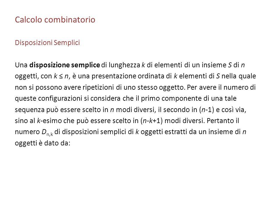 Calcolo combinatorio Disposizioni Semplici