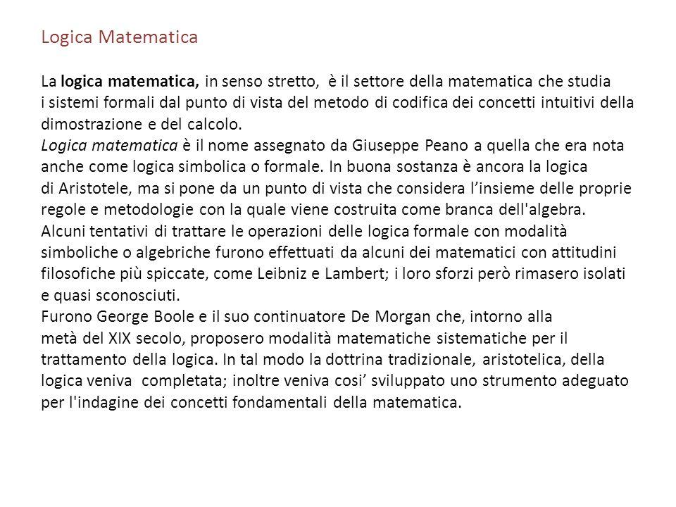 Logica Matematica La logica matematica, in senso stretto, è il settore della matematica che studia.