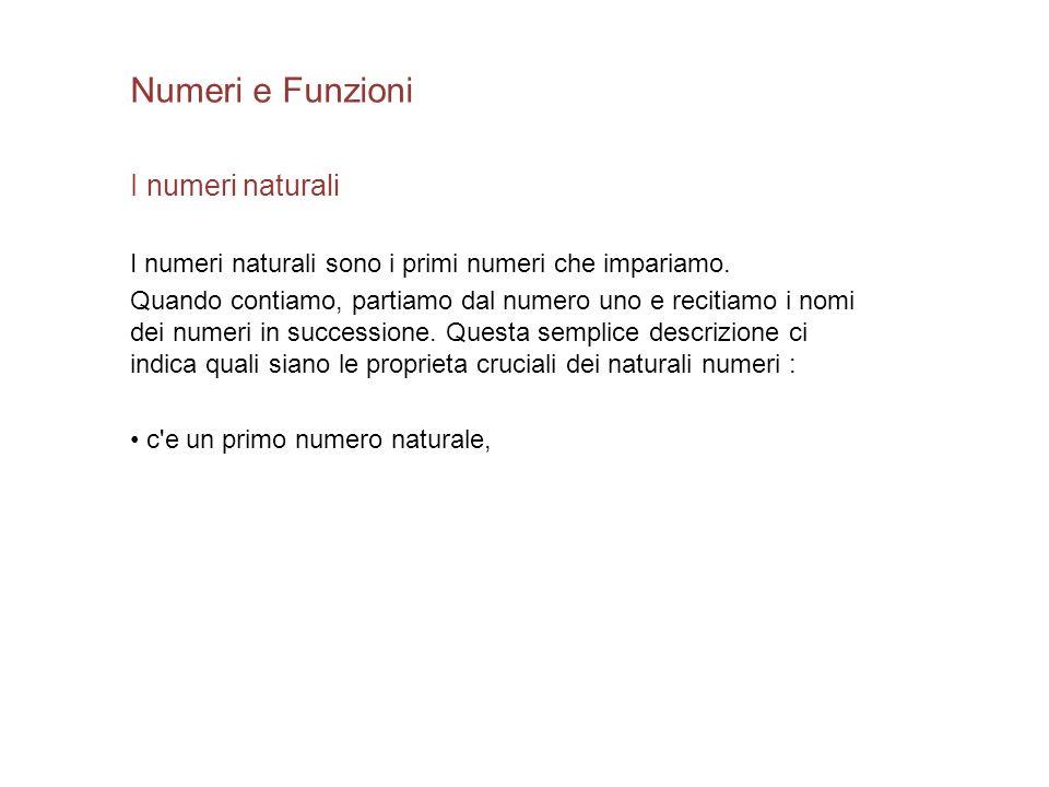 Numeri e Funzioni I numeri naturali