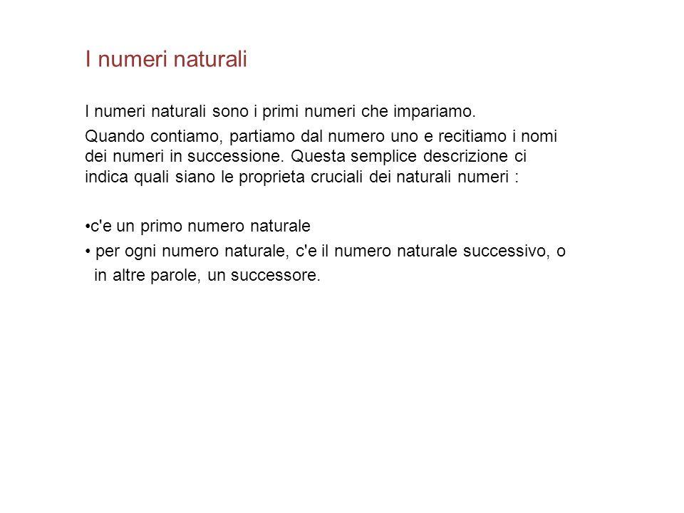 I numeri naturali I numeri naturali sono i primi numeri che impariamo.