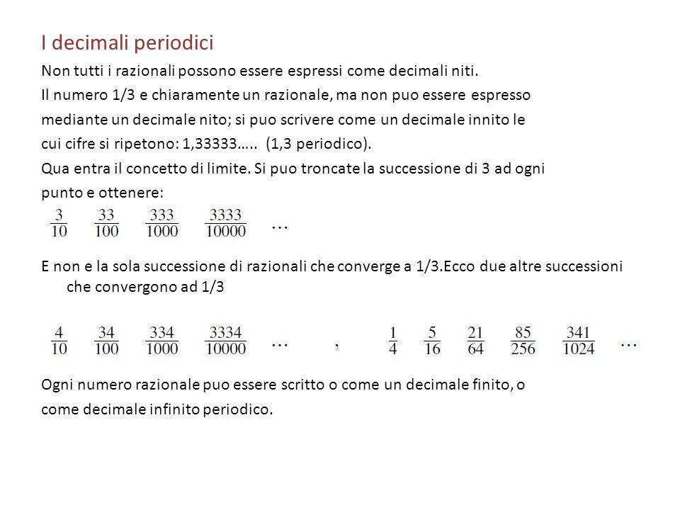 I decimali periodici Non tutti i razionali possono essere espressi come decimali niti.