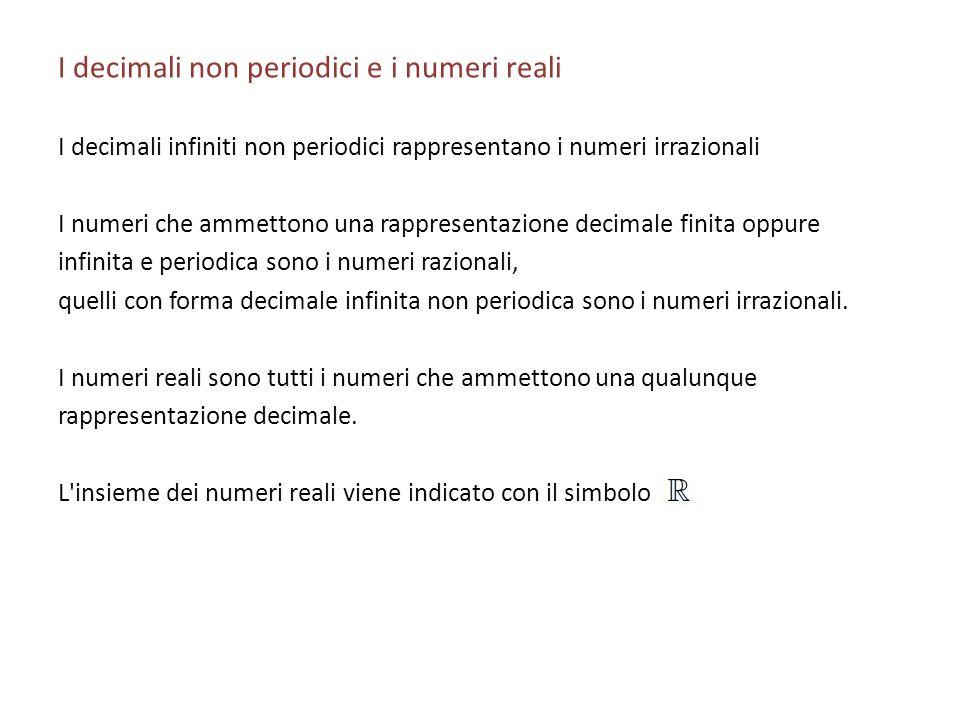 I decimali non periodici e i numeri reali