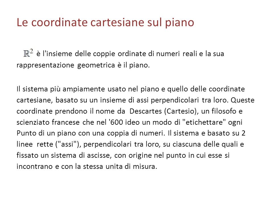 Le coordinate cartesiane sul piano