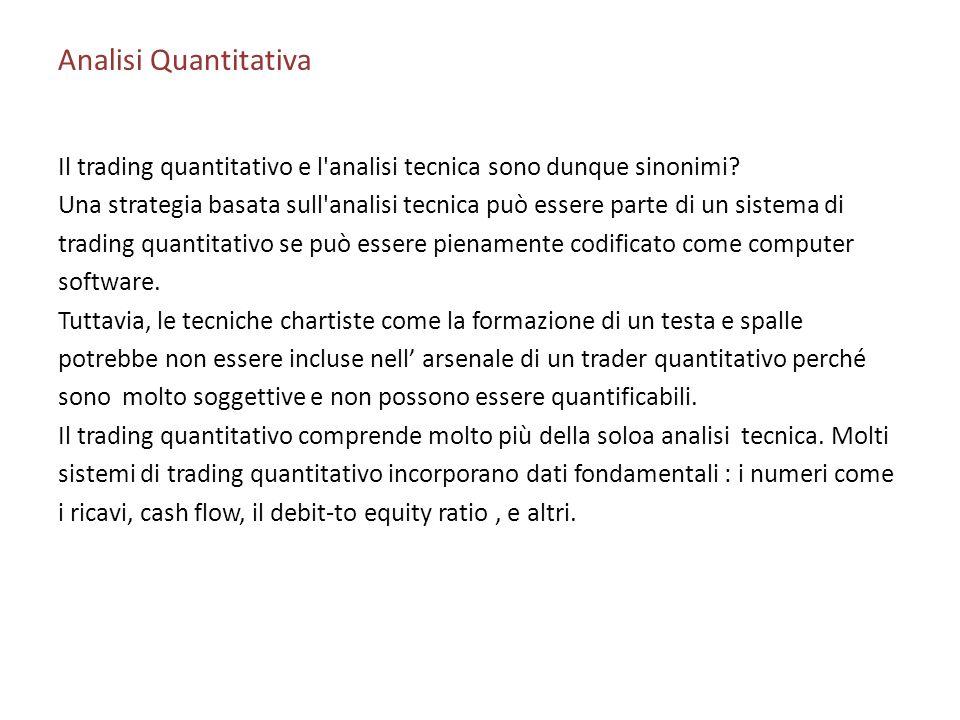 Analisi Quantitativa Il trading quantitativo e l analisi tecnica sono dunque sinonimi