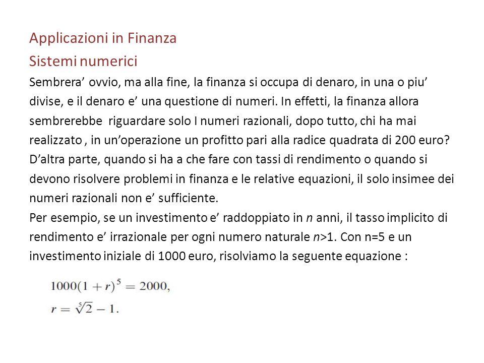Applicazioni in Finanza Sistemi numerici