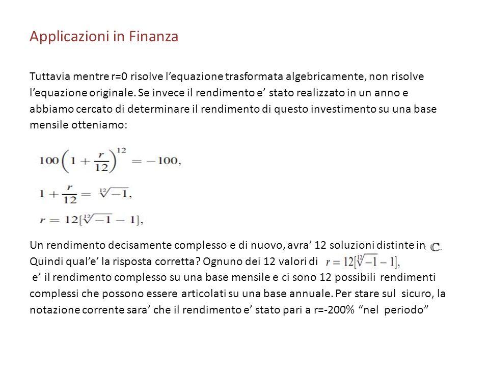 Applicazioni in Finanza