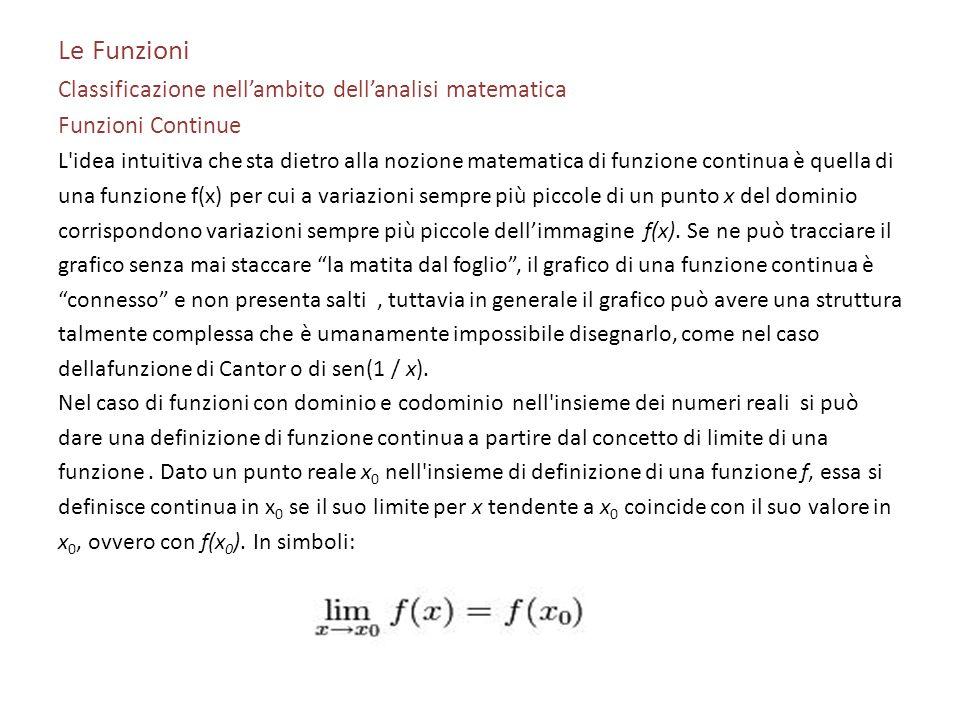 Le Funzioni Classificazione nell'ambito dell'analisi matematica