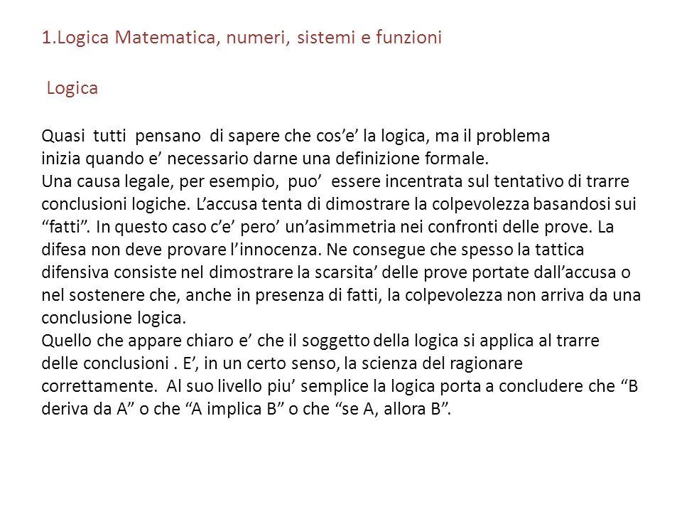 1.Logica Matematica, numeri, sistemi e funzioni Logica