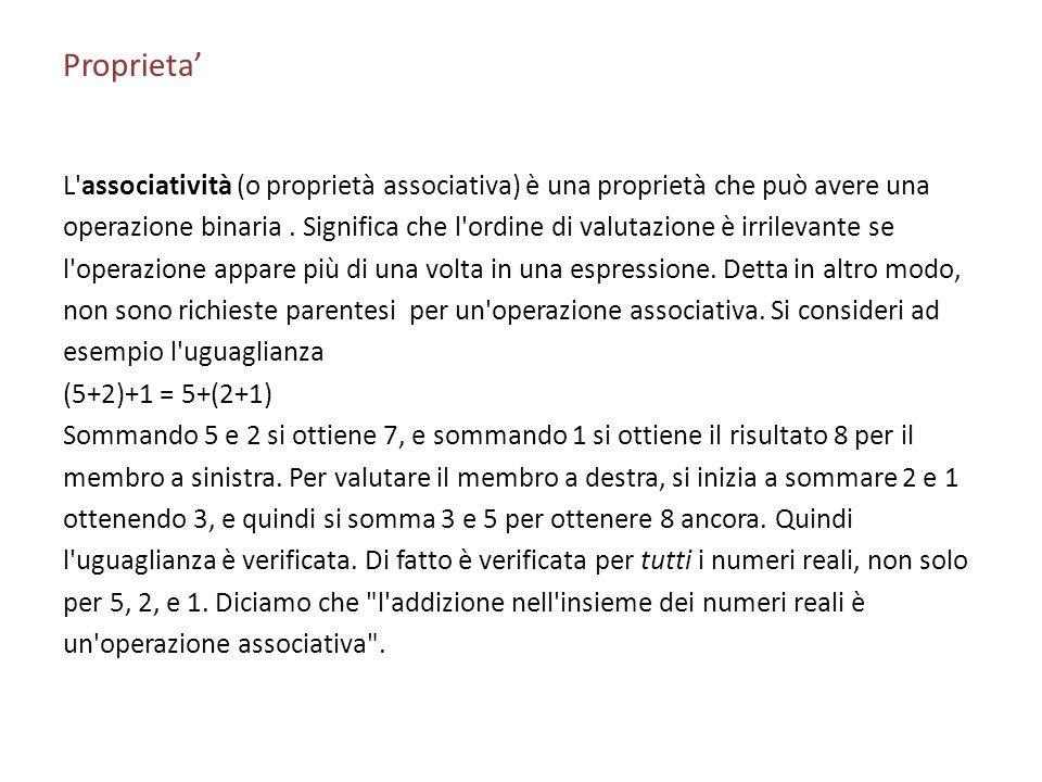 Proprieta'L associatività (o proprietà associativa) è una proprietà che può avere una.