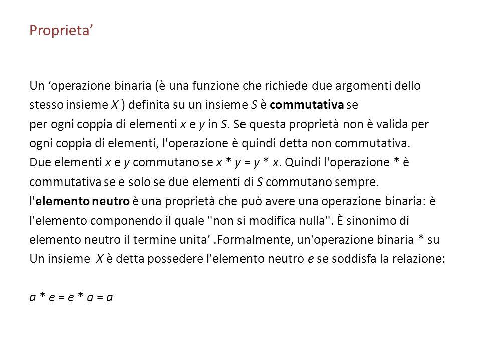Proprieta' Un 'operazione binaria (è una funzione che richiede due argomenti dello. stesso insieme X ) definita su un insieme S è commutativa se.
