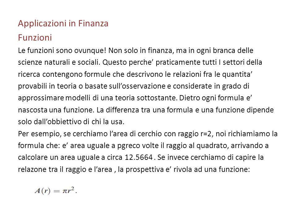 Applicazioni in Finanza Funzioni