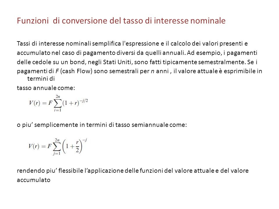 Funzioni di conversione del tasso di interesse nominale