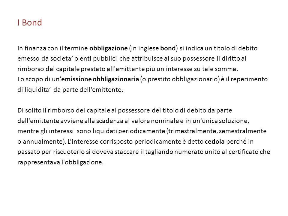 I Bond In finanza con il termine obbligazione (in inglese bond) si indica un titolo di debito.