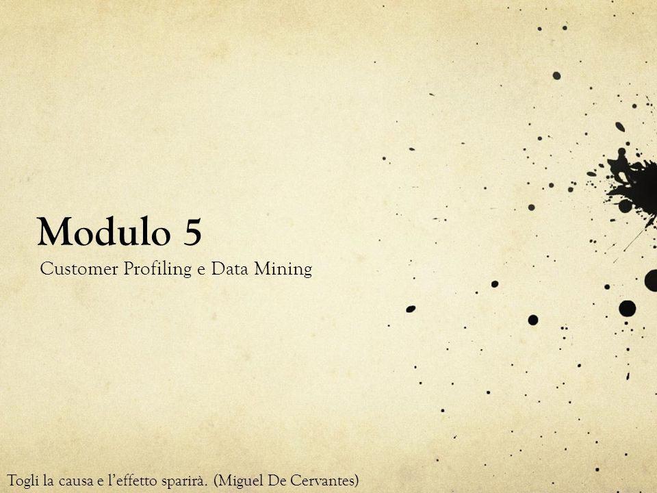Modulo 5 Customer Profiling e Data Mining