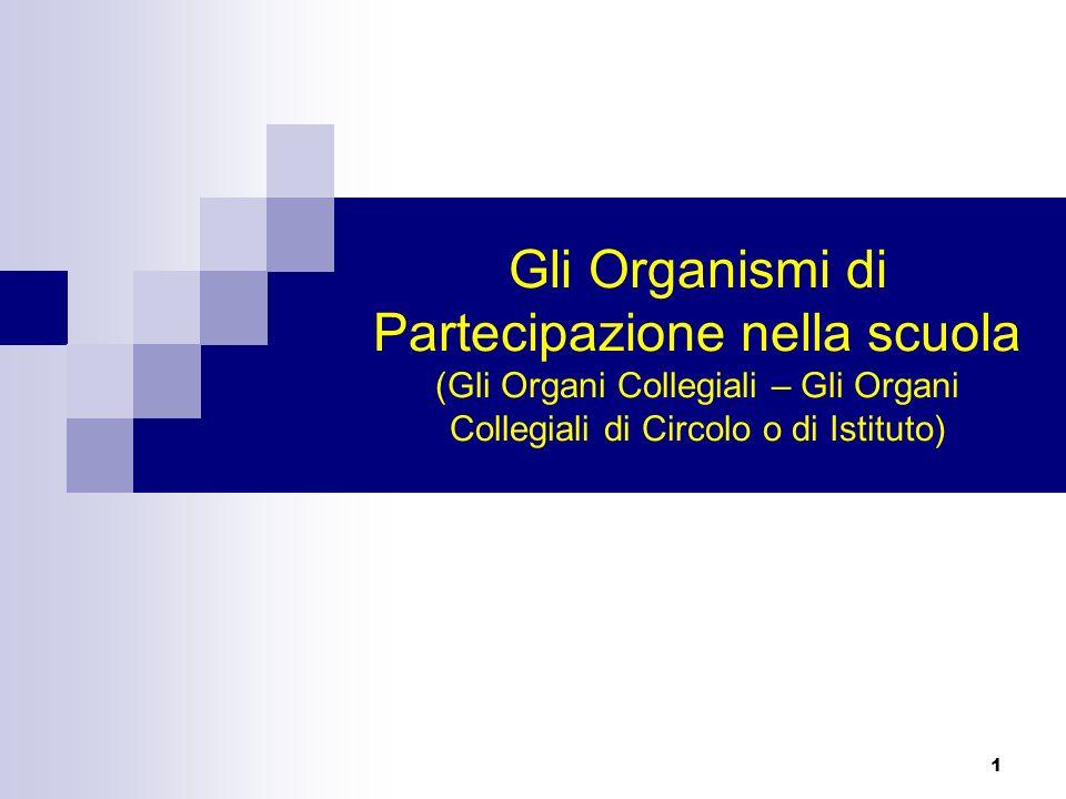 C.O. Gli Organismi di Partecipazione nella scuola (Gli Organi Collegiali – Gli Organi Collegiali di Circolo o di Istituto)