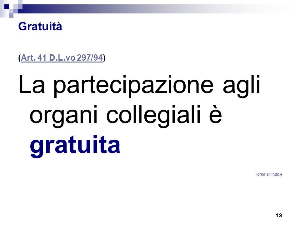 La partecipazione agli organi collegiali è gratuita