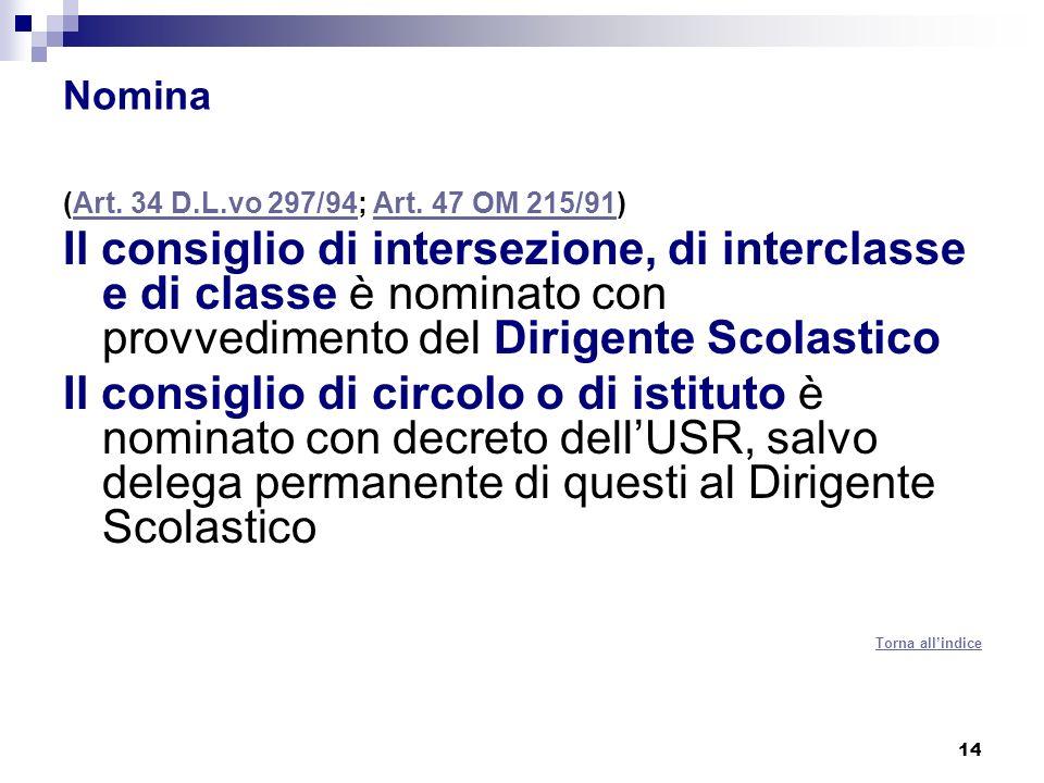 C.O. Nomina. (Art. 34 D.L.vo 297/94; Art. 47 OM 215/91)