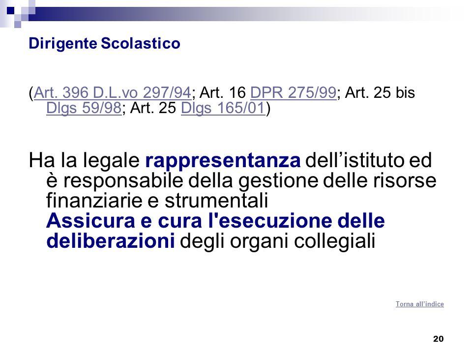 C.O. Dirigente Scolastico. (Art. 396 D.L.vo 297/94; Art. 16 DPR 275/99; Art. 25 bis Dlgs 59/98; Art. 25 Dlgs 165/01)