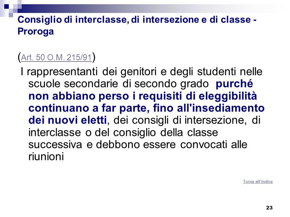 Consiglio di interclasse, di intersezione e di classe - Proroga