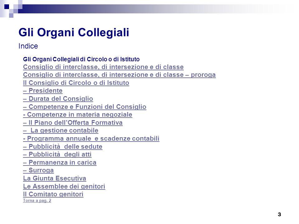 Gli Organi Collegiali Indice