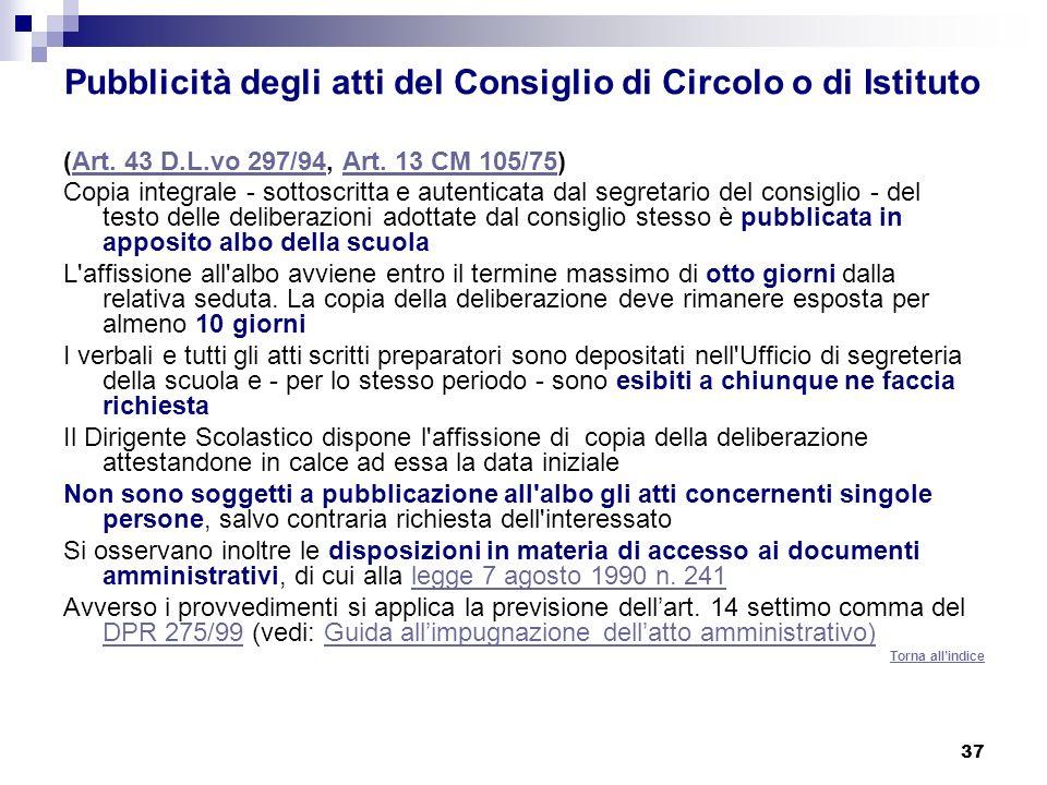 Pubblicità degli atti del Consiglio di Circolo o di Istituto