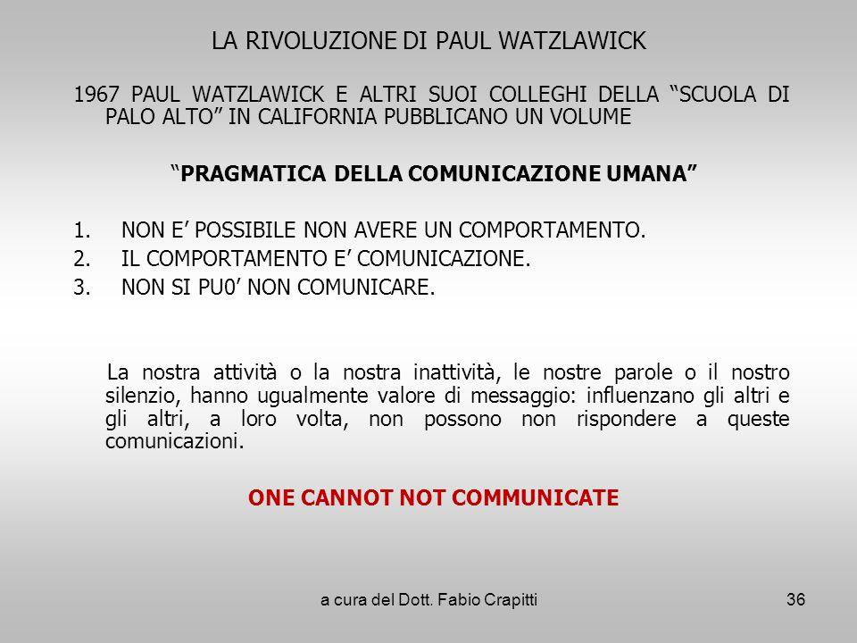 LA RIVOLUZIONE DI PAUL WATZLAWICK