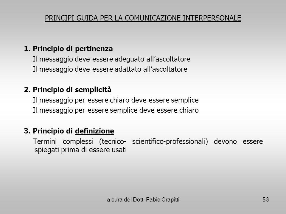 PRINCIPI GUIDA PER LA COMUNICAZIONE INTERPERSONALE